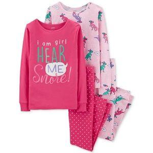 Carter's 4-Piece Dino-Print Cotton Pajamas, Size 4